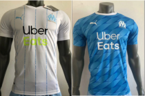 player version add+$5 19-20 Marseille home white  away blue soccer jersey