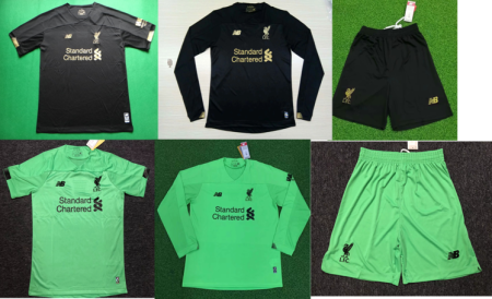 long sleeves 19-20 Liverpool goalkeeper black green soccer jersey size S-4XL