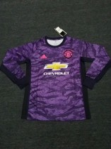 19-20 Manchester United goalkeeper purple long sleeves soccer jersey