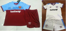 kids kit 19-20 West Ham United home away white soccer jersey