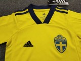kids kit Euro 2020 Sweden home soccer jersey