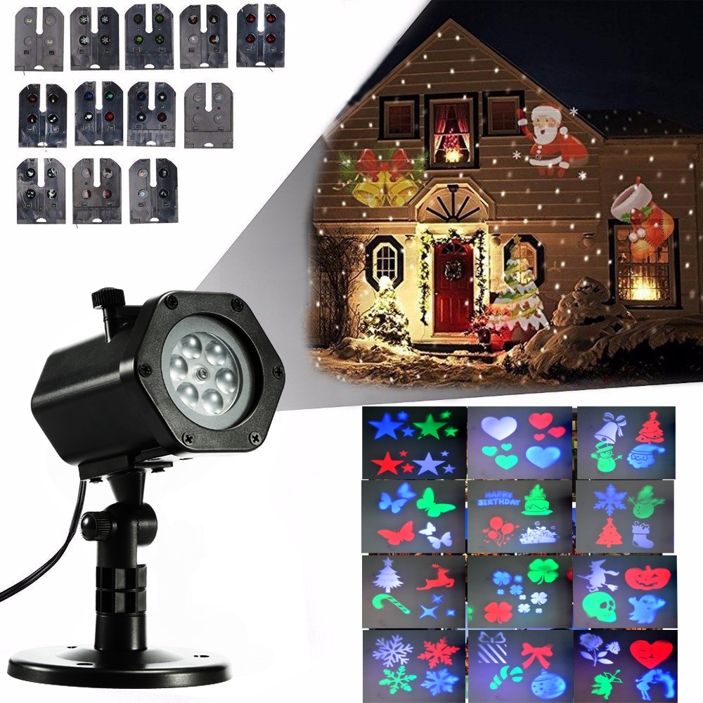 fvtled christmas led projector lamp landscape projection lamp rgbw rotating christmas halloween lights projection waterproof 12 patterns spotlight for - Christmas Led Projector