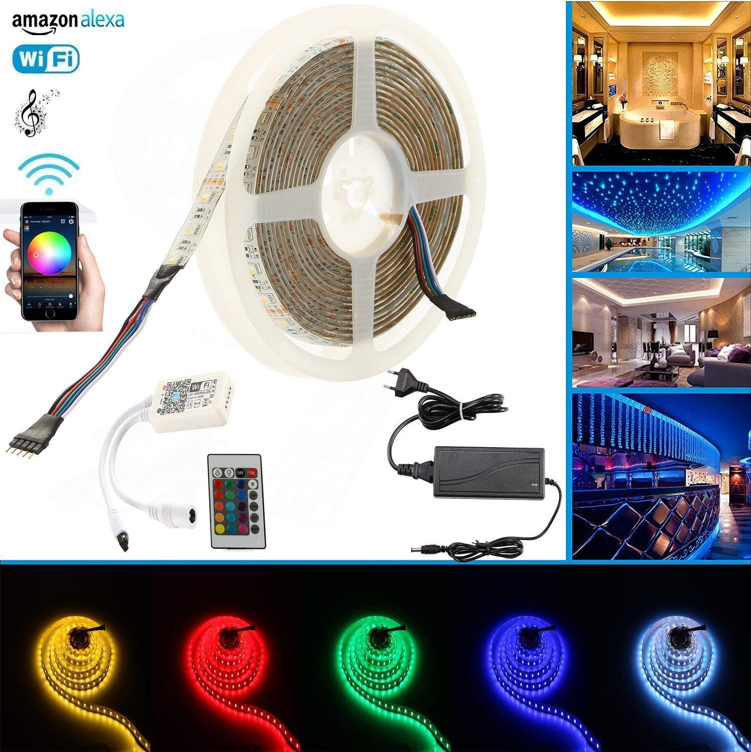 Us 45 Wifi Ip65 Led Strip Lights Rgb Warm White 4 In 1 Wiring As Well Light Ground Free Set Compatible With Alexa Google Home Ifttt Wireless Smart Phone Controlled Full