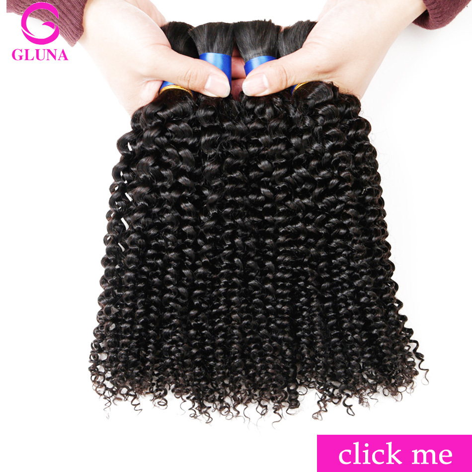 Gluna Human Braiding Hair Bulk Indian Brazilian Kinky Curly Hair
