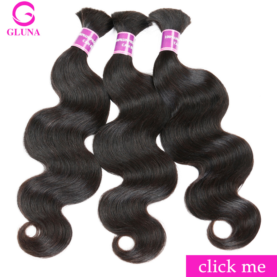 Gluna Body Wave Braiding Hair Bulk 100 Unprocessed Human Hair