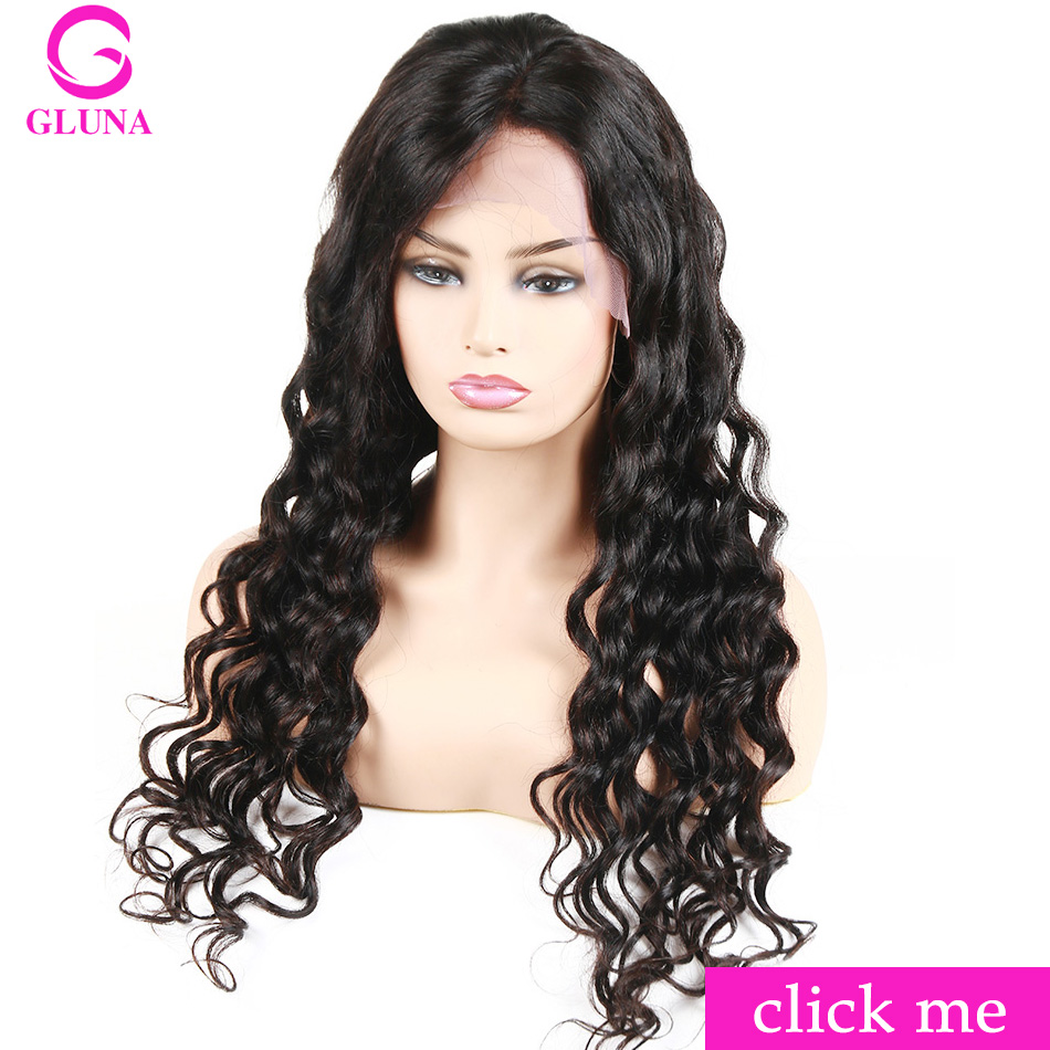 Gluna Lace Frontal Wig Pre Plucked With Baby Hair Lace Front Human Hair Wigs  For Women Peruvian Loose Wave Lace Wigs Remy Black ca022d86f