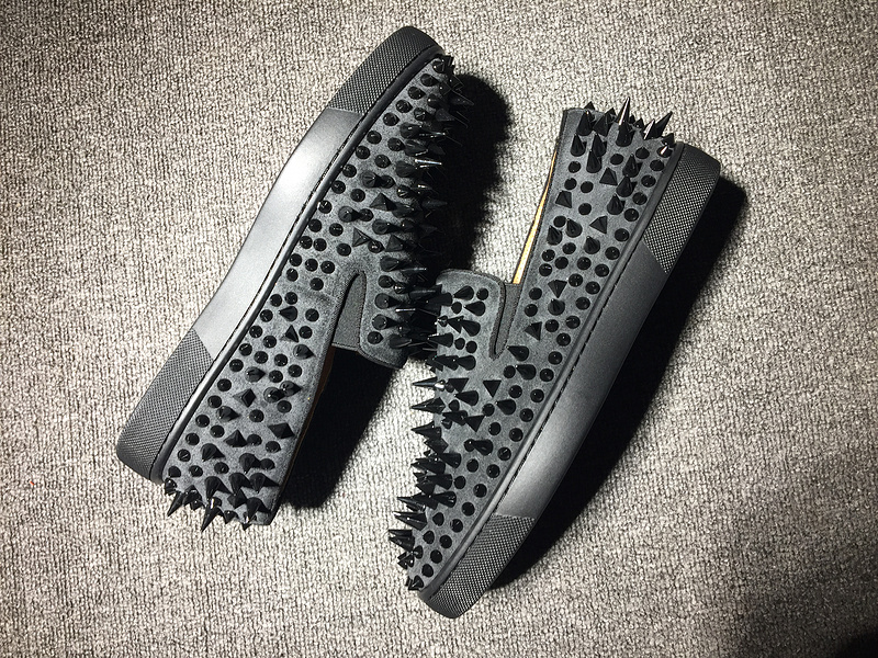 new product 33095 e478f Red Bottom Sneaker Christian Louboutin Flat Spikes Grey Suede Boat Shoes