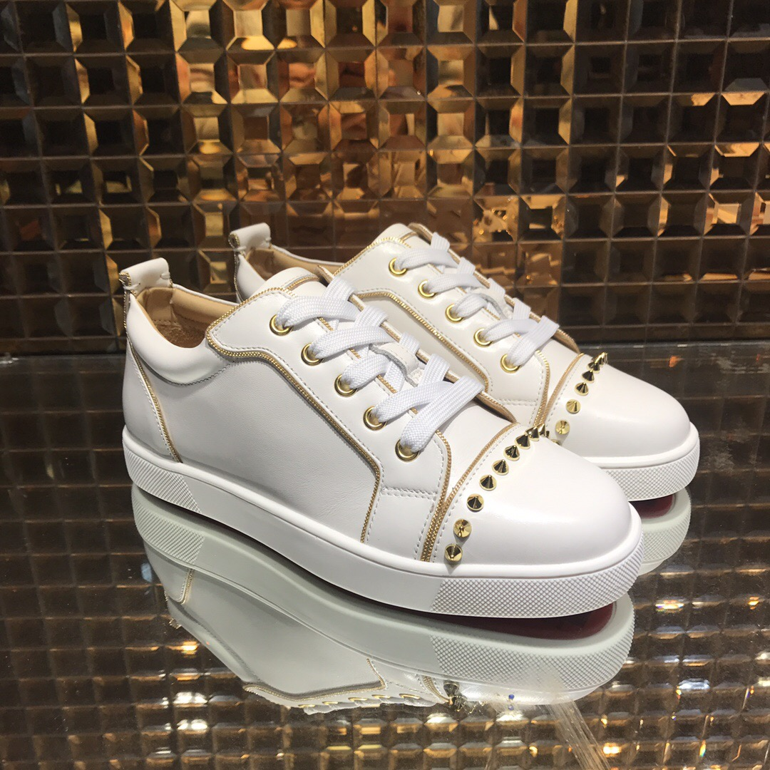1e11e0b62b6 red bottom shoes for men - Christian Louboutin White Low Top Beige Stripe  Gold Row Spikes Junior Shoes - red bottoms for men - red bottom sneakers  US  280- ...