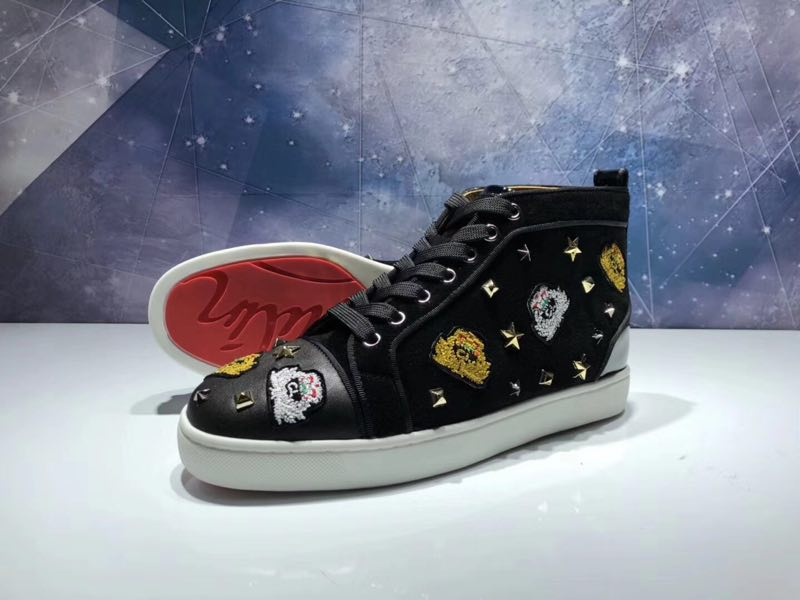 wholesale dealer 076c0 9c069 Christian Louboutin High Top Flats Black Suede CL Badge Men Sneakers