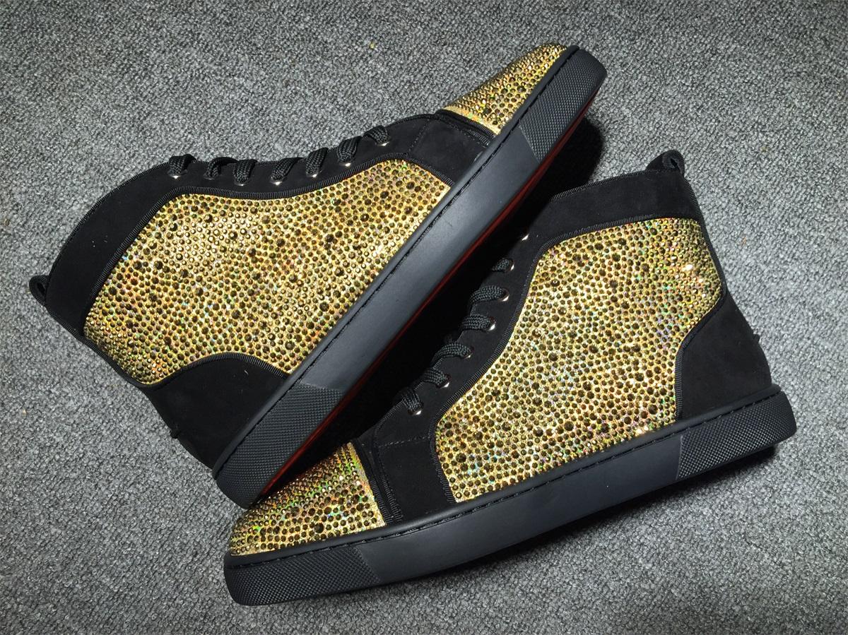 san francisco b8fc1 f90a0 louboutins men Christian Louboutin Flat Gold Strass Black Men Shoes