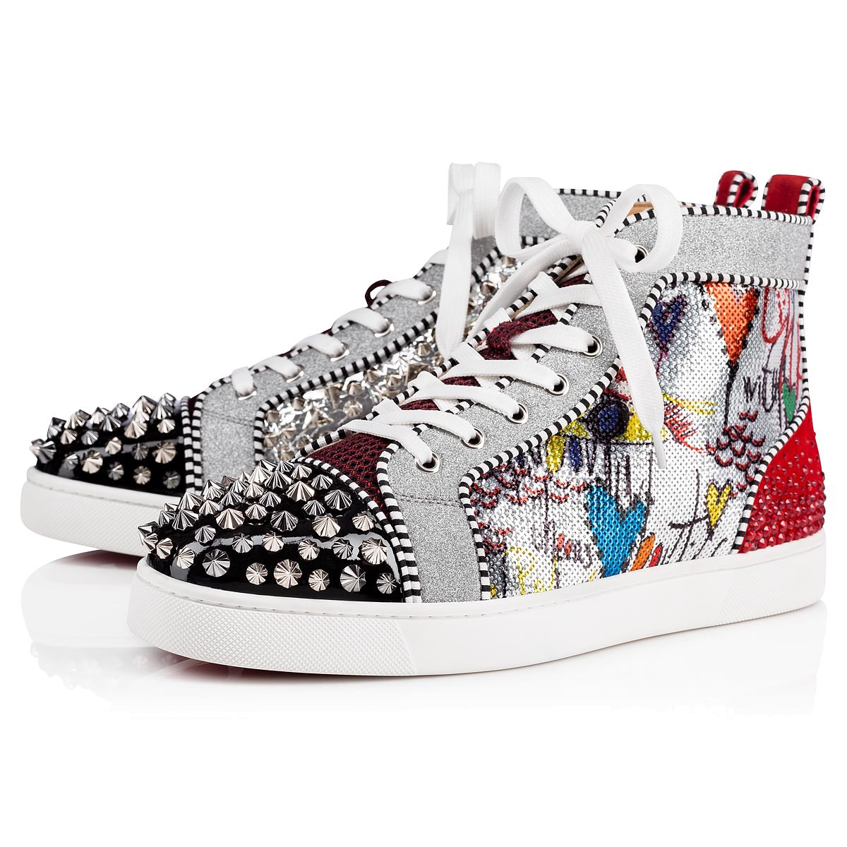 red bottom shoes for men - Christian Louboutin No Limit F18 High Top Silver  Spikes Men Shoes - red bottoms for men - red bottom sneakers US  280- ... a27aaea38