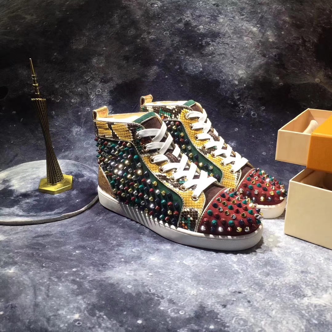 quality design 5ac14 f66d4 Christian Louboutin High Top Colorful Spikes Men Shoes