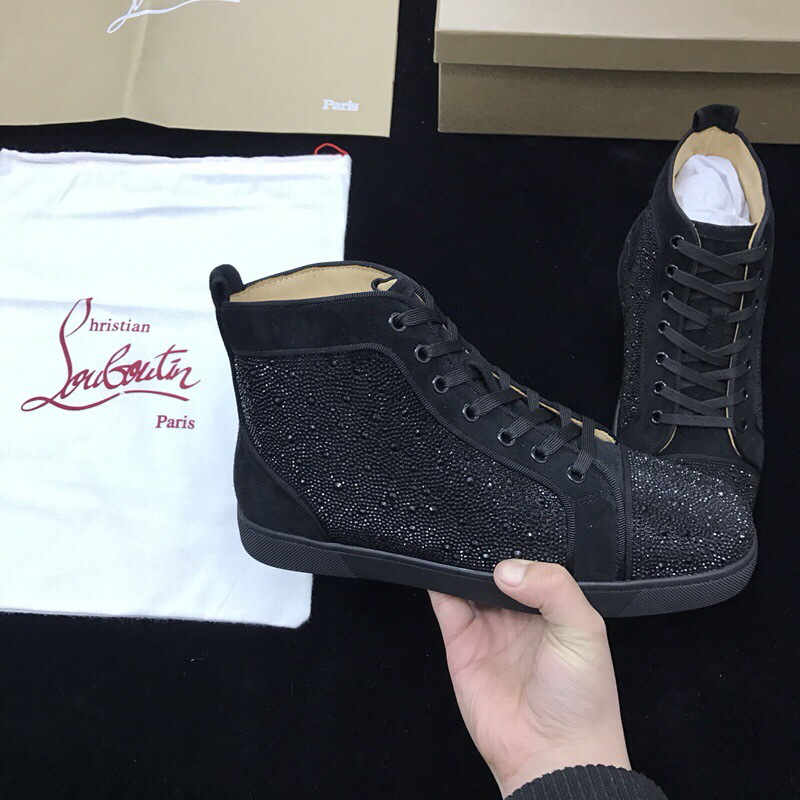 best website f579c 12b89 Louboutins Men Christian Louboutin Flat Black Strass Black Men Shoes