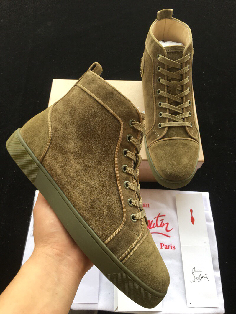 pretty nice 596bd 5e3e4 Christian Louboutin Army Green Suede High Top Flats Men Sneakers