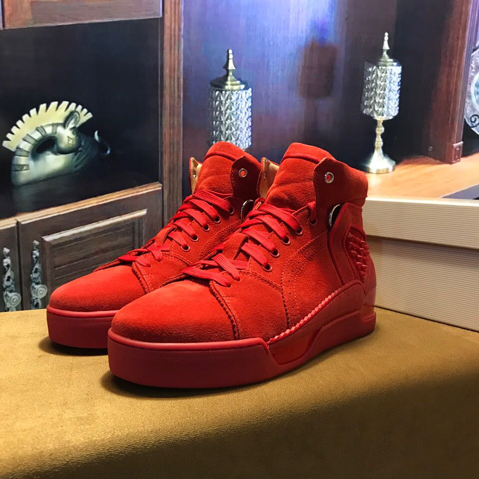 b8d3f8a0d71 red bottom shoes for men - Christian Louboutin Flat Basketball Shoes High  Top Men Sneaker - red bottoms for men - red bottom sneakers US  280- ...