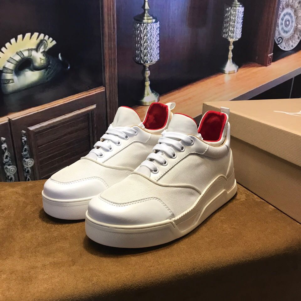 detailed look 803a3 57679 Christian Louboutin Flat Black Or White Basketball Shoe Low Top Men Sneaker