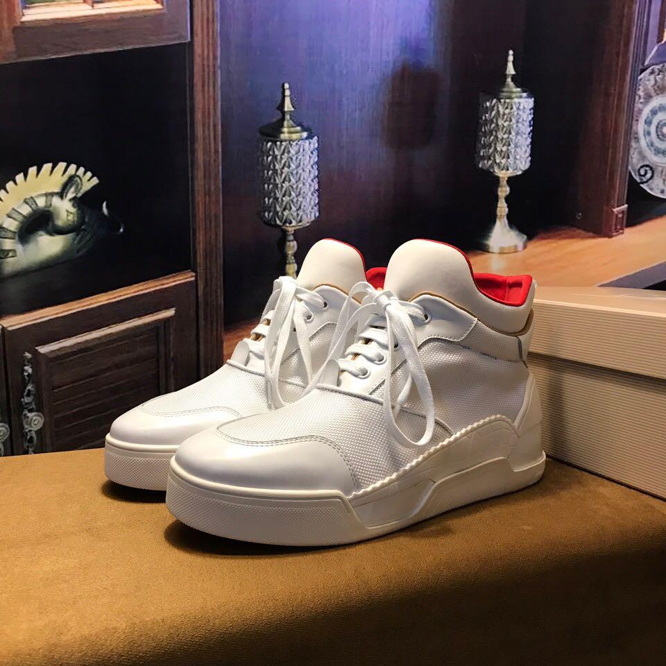 a9a953227d9 red bottom shoes for men - Christian Louboutin Flat Basketball Shoe High  Top Men Sneaker Black Or White - red bottoms for men - red bottom sneakers  US  280- ...