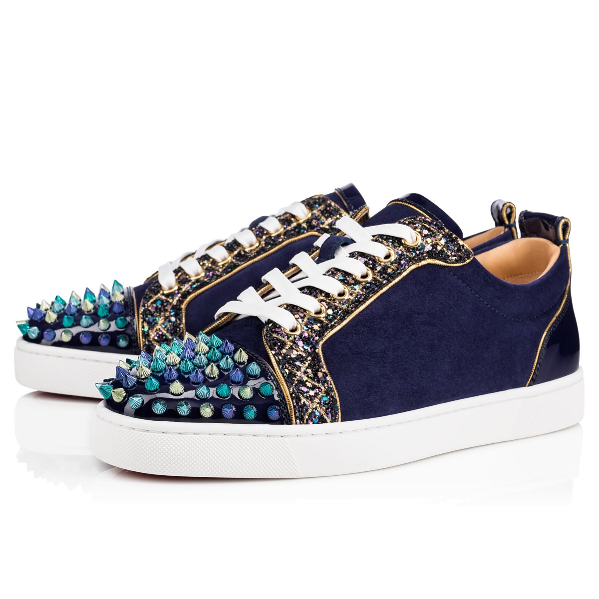 huge selection of 6db23 8765b Christian Louboutin Sneaker Low Top Junior Blue Toes With Strass Spikes Men  Shoes