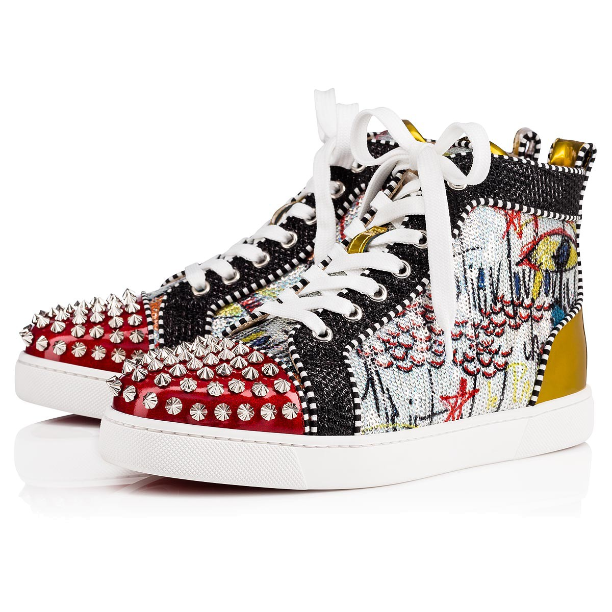 new product 71871 b49dc Christian Louboutin High Top Silver Spikes Men Shoes Lou Spikes Woman Flat