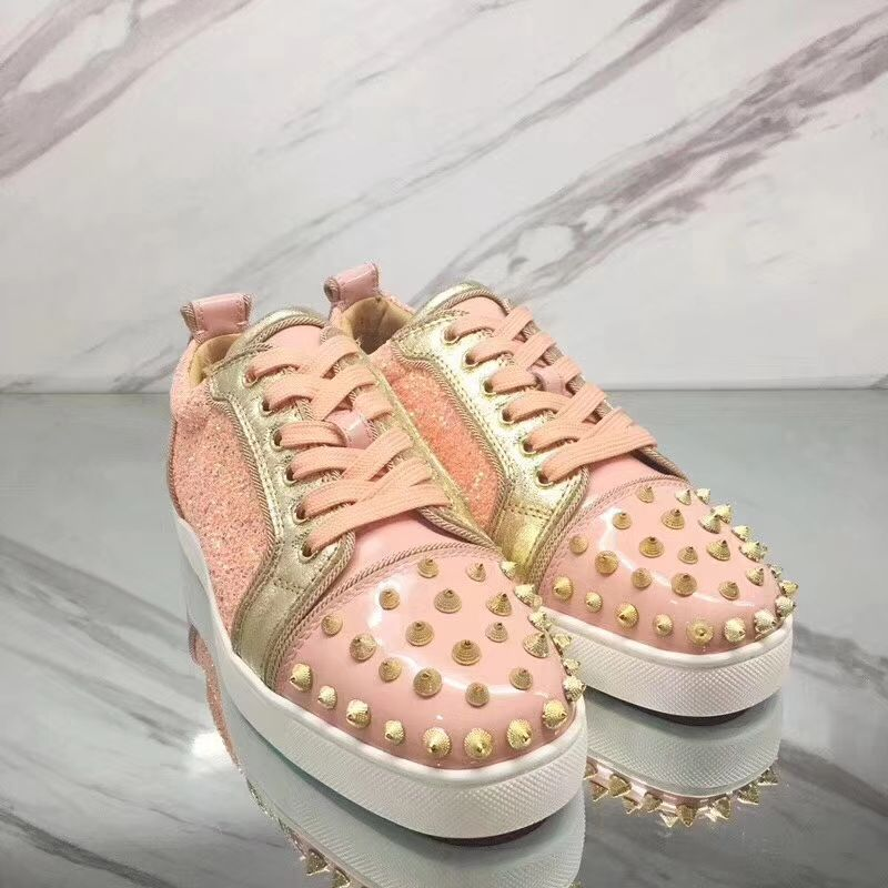 info for 0edbb 4e778 Christian Louboutin Sneaker Low Top Junior Pink With Strass Spikes Women or  Men Shoes