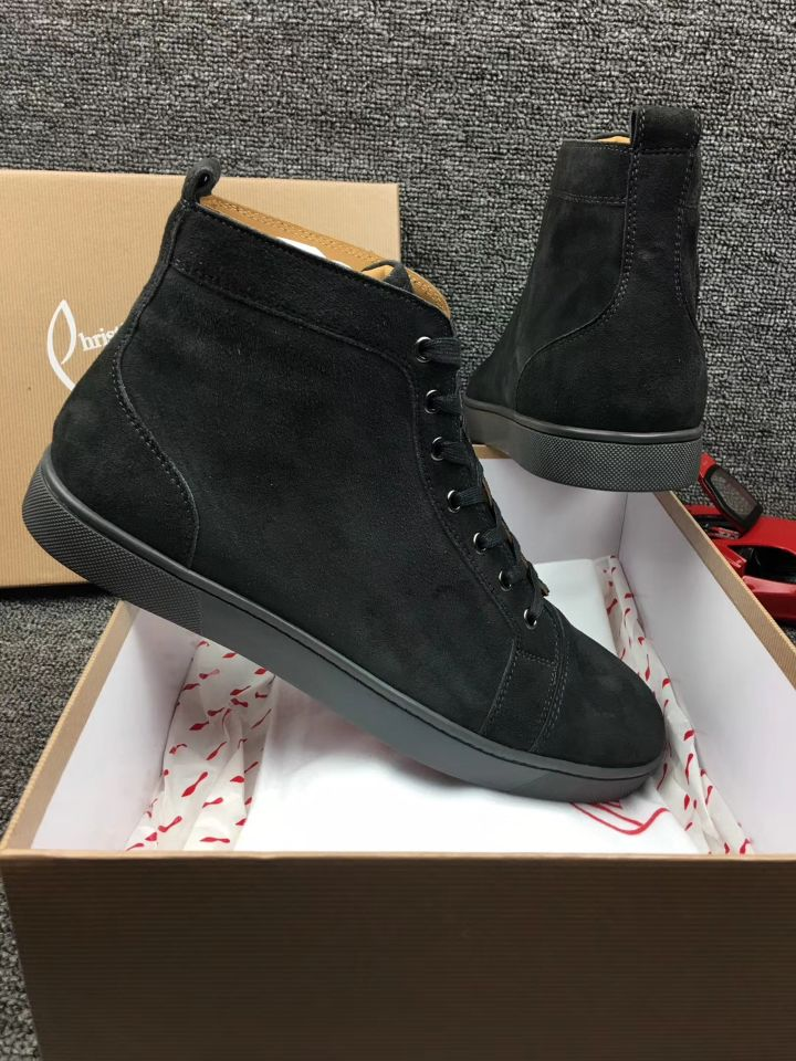 new arrival 35f41 b6701 Christian Louboutin Dark Grey Suede High Top Flats Men Sneakers
