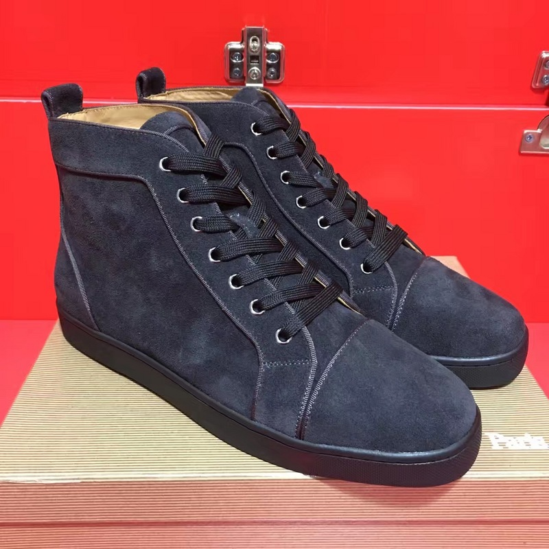 red bottom shoes for men - Christian Louboutin Grey Suede High Top Flats  Men Sneakers - red bottoms for men - red bottom sneakers US  280- ... 268aff8ee182