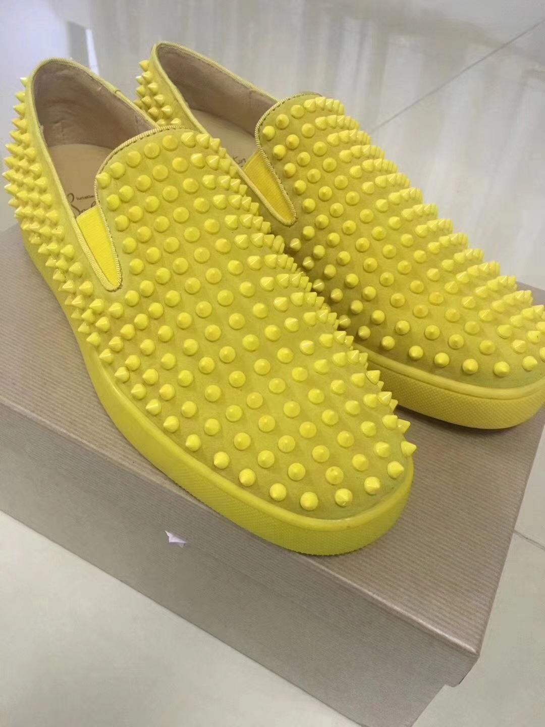 84798c6760c Louboutin For Man Sneakers Christian Louboutin Flat Yellow Suede Spike Boat  Shoes