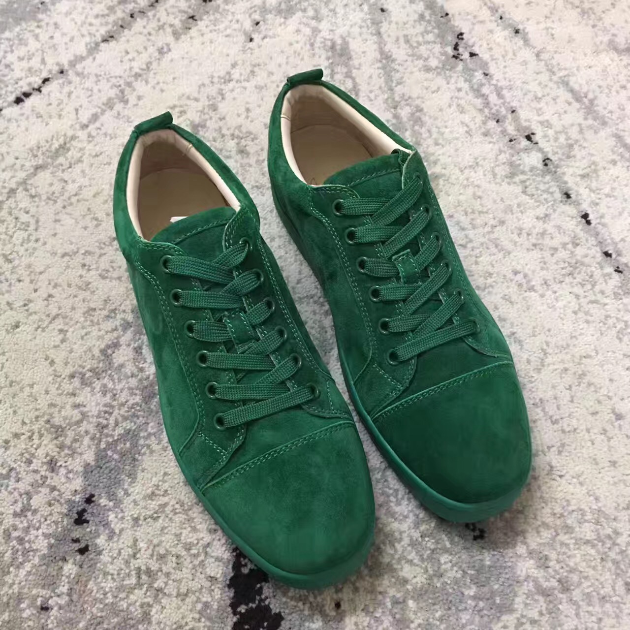 red bottom shoes for men - Christian Louboutin Sneaker Low Top Junior Green  Suede Shoes - red bottoms for men - red bottom sneakers US  280- ... 4f2bab177cc1