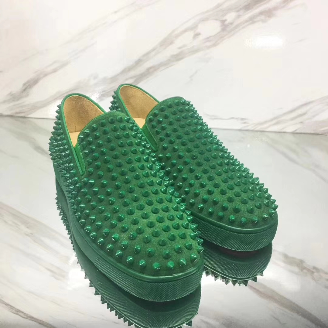 promo code 2a779 92e99 Louboutin For Man Sneakers Christian Louboutin Flat Green Suede Spike Boat  Shoes