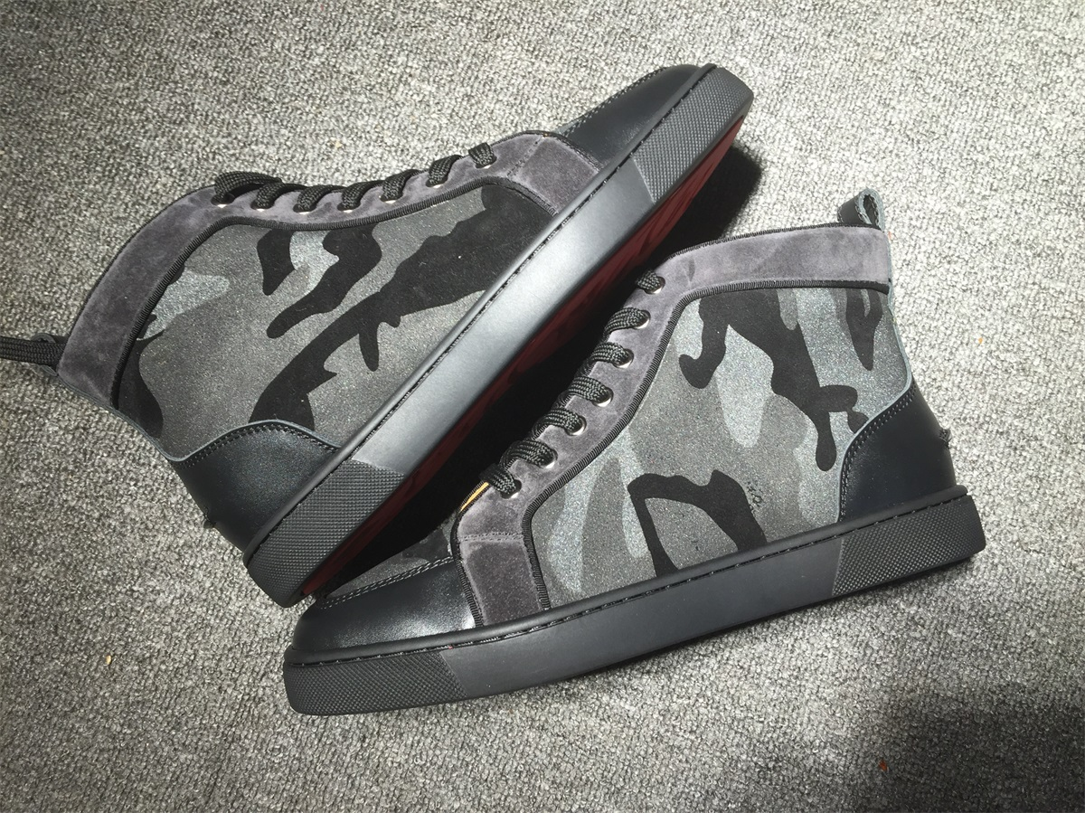 timeless design bf52e 94487 Christian Louboutin Grey Camouflage High Top Flats Men Sneakers