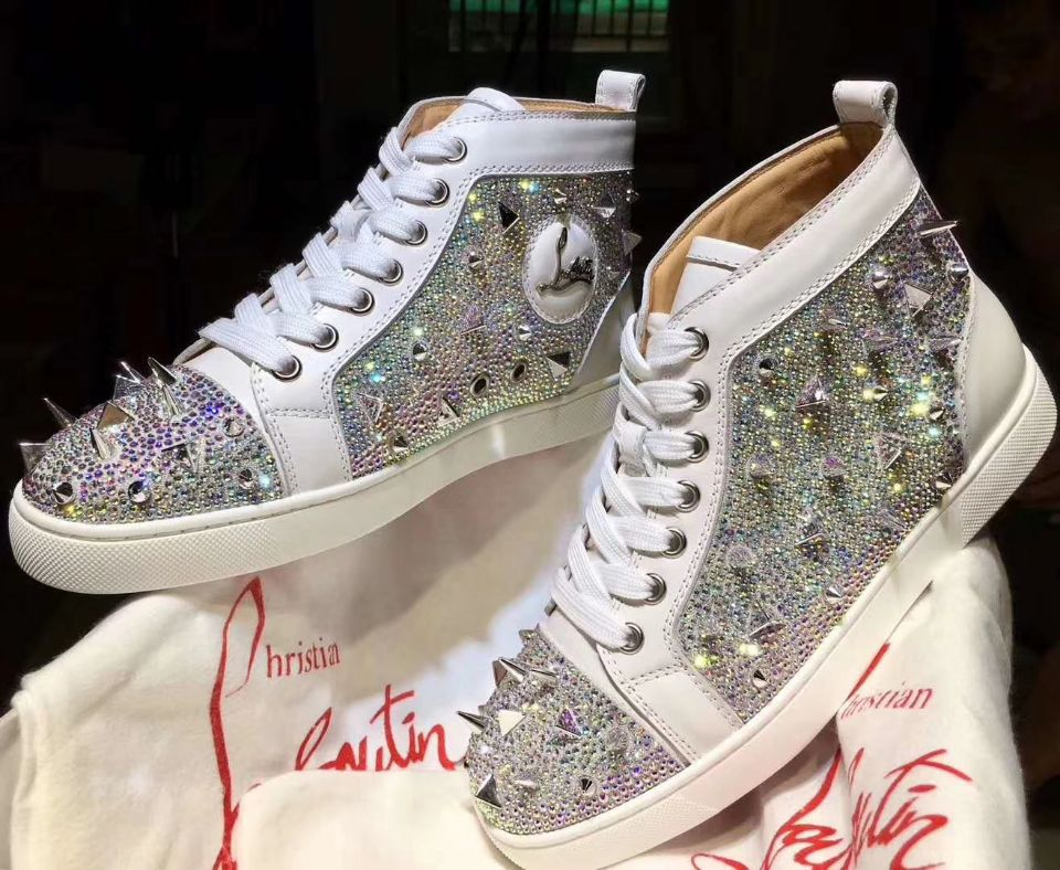 aed8731e3a5 Christian Louboutin Pik Pik White Spikes With Strass Louis Flats Men Shoes