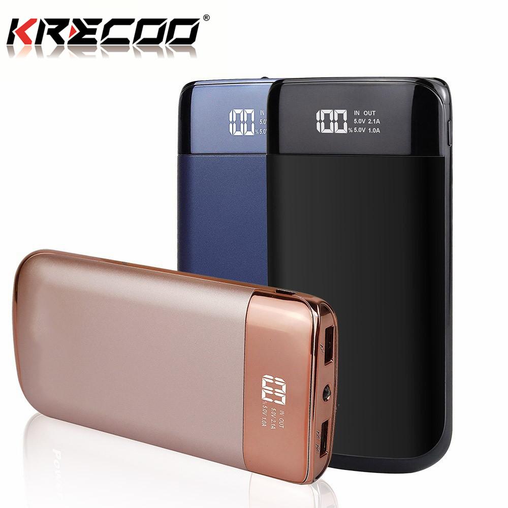 krecoo portable power bank 10000mah dual usb with lcd external rh krecoo com