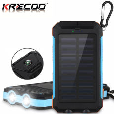KRECOO Portable Power Banks 20000mAh External Solar Power Bank Dual USB with 2 Flashlight Waterproof Powerbank for iPhone,iPad & Samsung Galaxy & More4
