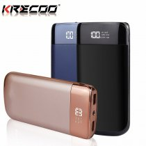 KRECOO Portable Power Bank 10000mAh Dual USB With LCD External Battery Charger Flash Lights Charge For iPhone,IPad & Samsung Galaxy & More