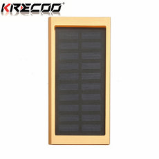 KRECOO Portable Power Banks 20000mAh External Solar Cell Battery Pack 2 USB Powerbank for iPhone,iPad & Samsung Galaxy & More