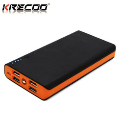 KRECOO Portable Power Bank 20000mAh External Battery Pack High Capacity Outdoor Charger with 4 USB Port Charge for iPhone,iPad & Samsung Galaxy & More