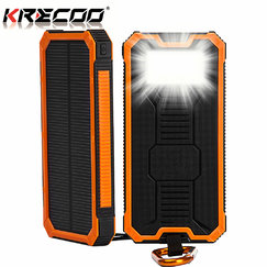 KRECOO Portable Power Banks 20000mAh External Mobile Solar Charger Dual USB with 2 Flashlight Waterproof Batteries for iPhone,iPad & Samsung Galaxy & More