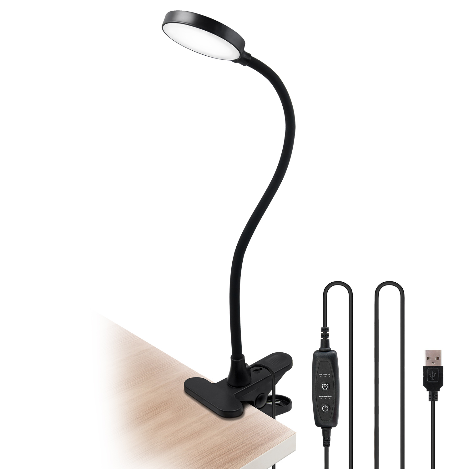 Usb Powered Black Dimmable 4w Led Table Light Desk Reading Lamp Laptop Light With Clamp Timer Function Flexible Gooseneck Eye Care Daylight