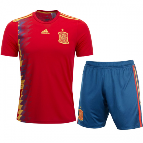 official photos f31f9 21c29 2018 World Cup Spain Home Soccer jersey kit (Shirt+Short)