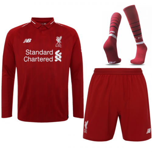 the best attitude a7ee6 ccba2 18-19 Liverpool Home Long Sleeve Soccer Jersey Whole Kit(Shirt+Short+Socks)