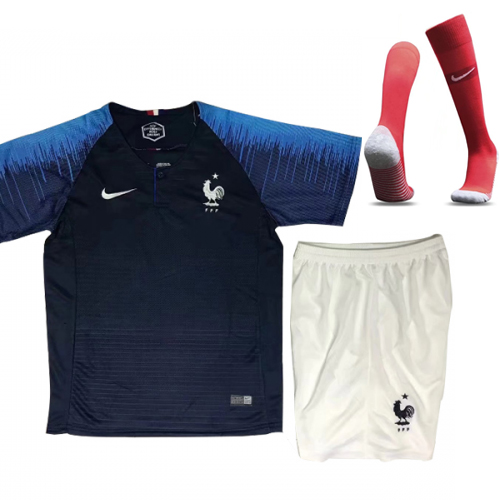 best loved bcfb1 526f3 2018 World Cup France Home Children's Jersey Whole Kit(Shirt+Short+Socks)