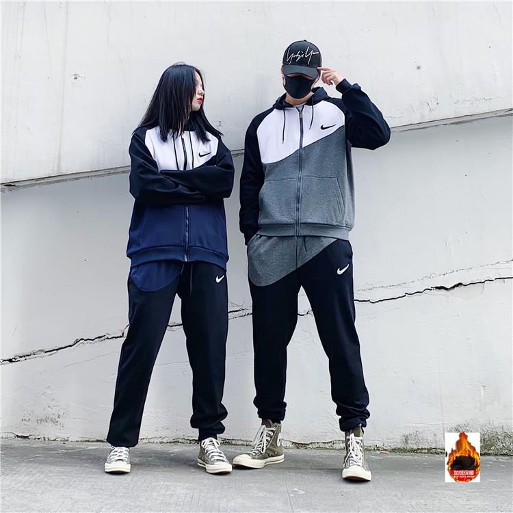 Corrección Tristemente Agacharse  Nike windbreaker sportswear windrunner jacket couple suit black ...