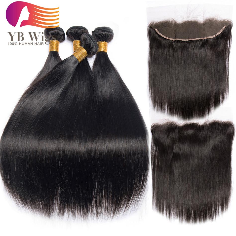 US  205 - Peruvian Straight Hair Bundle with closure 4 bundle human hair  weave Virgin Hair lace frontal closure with bundles 5pcs Free Shipping   4ST1302 ... da2b7f59dfa0