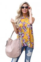 Mustard Violet Floral Back Cutout Sleeveless Top