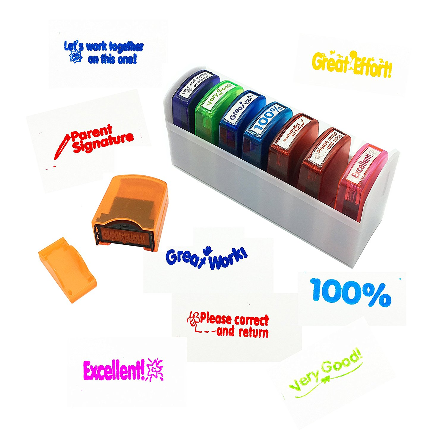 Reliancer Colorful Self Inking Motivation School Grading Teacher Stamp Set And Tray 8 Piece
