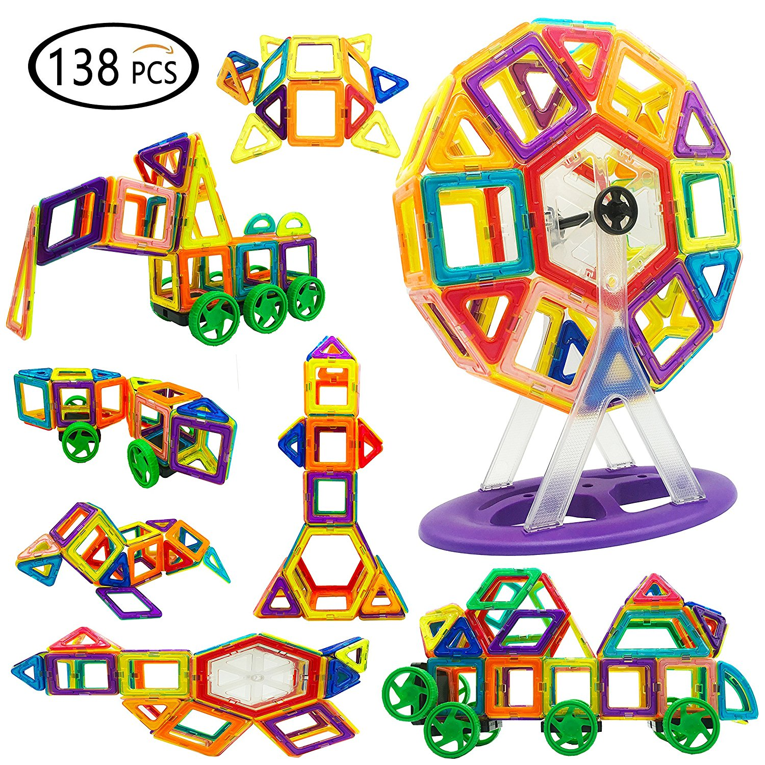 8f7f37c8a3d Reliancer 138PCS DIY Magnetic Building Blocks Set 3D Construction Building  Tiles Magnet Playboards Educational Block Stacking Toys Set For Kids  Creative ...