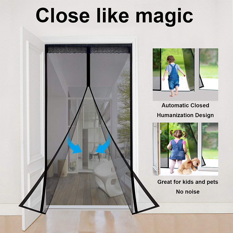 Reliancer Fiberglass Magnetic Screen Door Large Magnet Patio Door Mesh  Curtain For Door Opening Full Frame Velcro Keep Fly Bug Mosquito Out