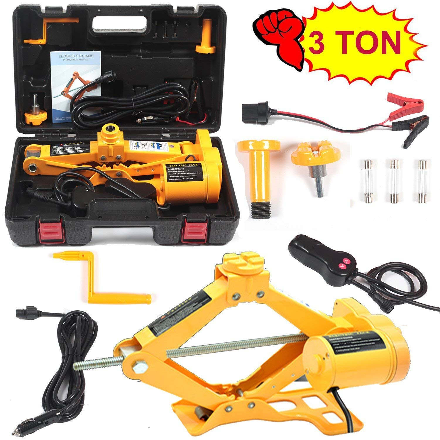 Electric Car Floor Jack 3 Ton/5 Ton All-in-one Automatic 12V Scissor Lift  Jack Set for Sedans SUV w/Double Saddles Remote Hydraulic Tire Change  Repair
