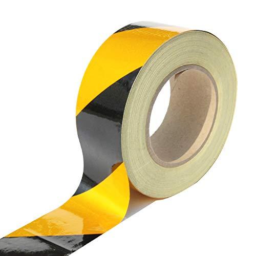 "2/"" X 150 Feet Reflective Hazard Caution Stripe Tape Yellow And Black Waterproof"
