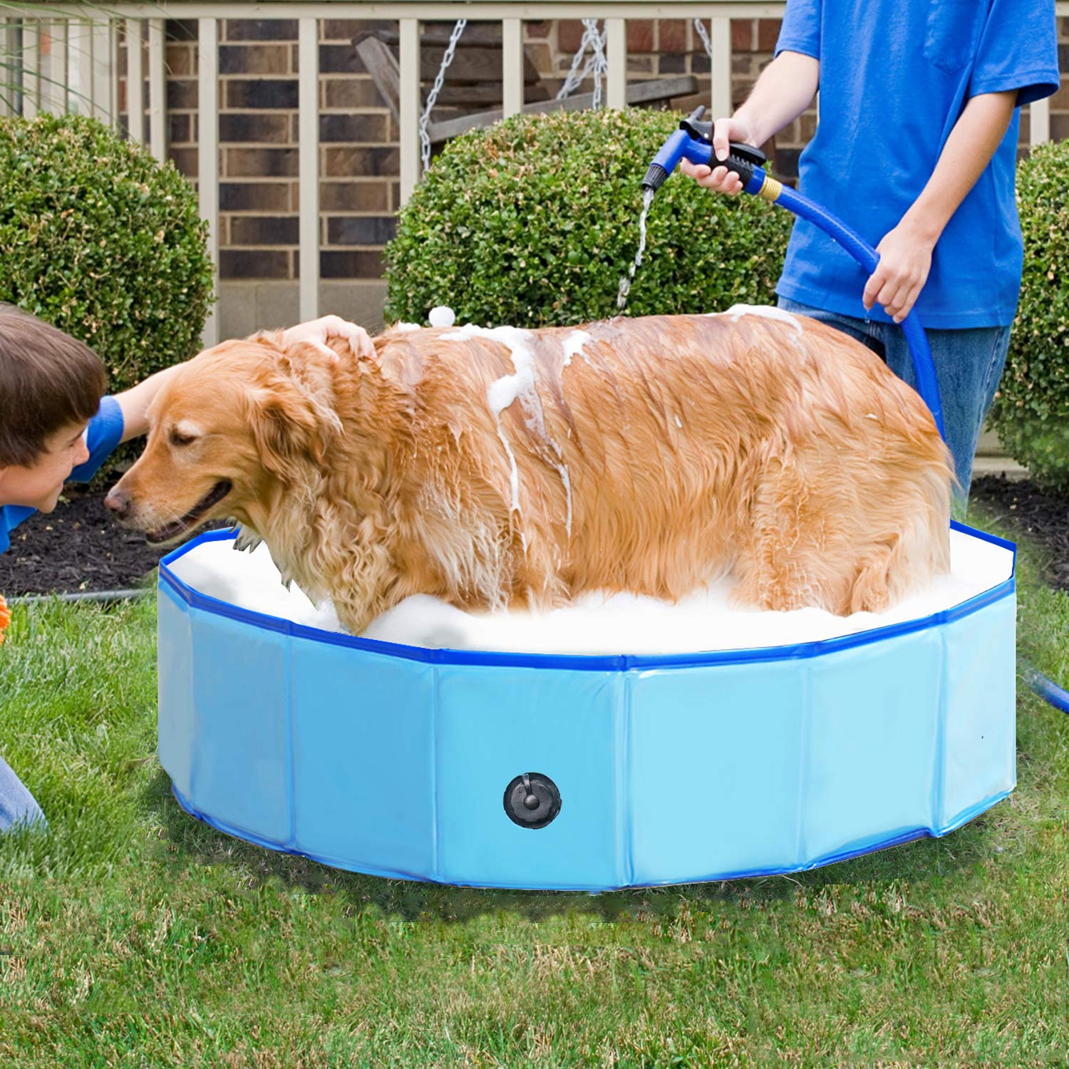Reliancer Foldable Dog Swimming Pool 40 Folding Pet Bath Pool Collapsible  Cat Bathtub Portable PVC Kiddie Pool Spa Bathing Wash Tub Water Pond Pool  ...